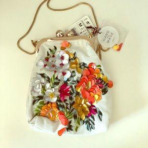 Zara purse embroidered - handmade